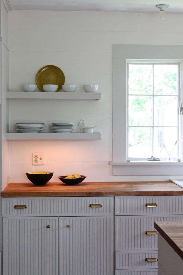 shiplap wall kitchen. ship lap behind kitchen shelves in a new england shiplap wall t