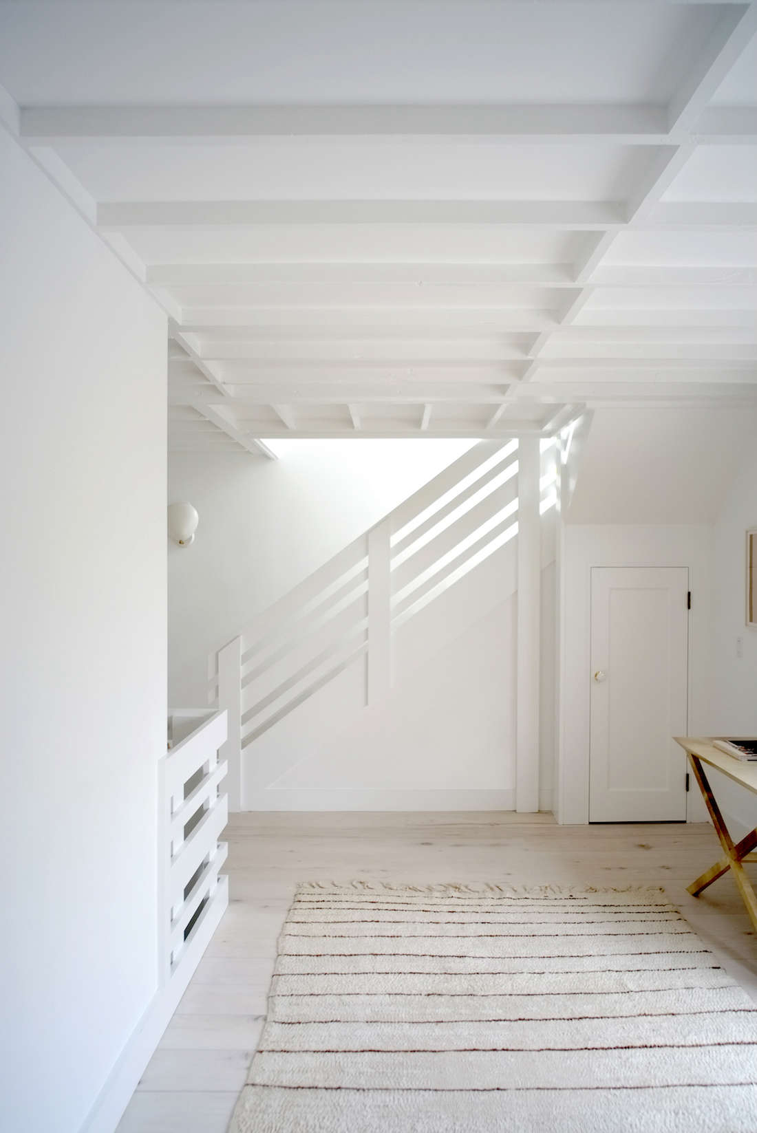 In the renovation of a Montauk beach house, Brooklyn architects Space Exploration painted the entire house in Benjamin Moore's Super White, with a flat finish on the walls and satin on the ceilings. Photograph courtesy of Space Exploration from our post The Simple Life: A Montauk Beach House for a Creative Couple.