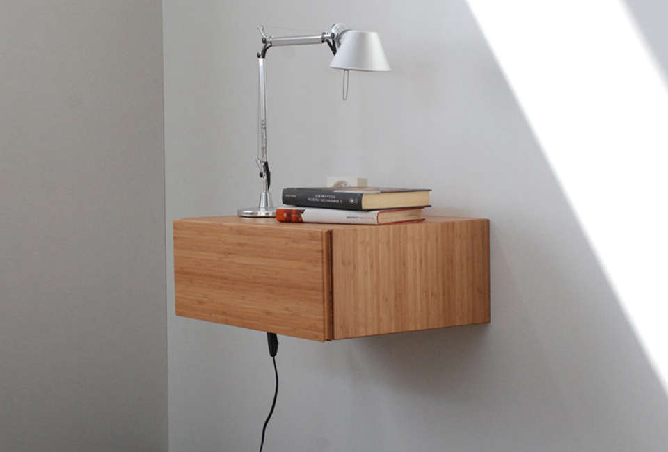 Italian Designer Angelo Cavallaro Ebanista Makes A Bamboo Floating Bedside Table With Single Blum Blumotion