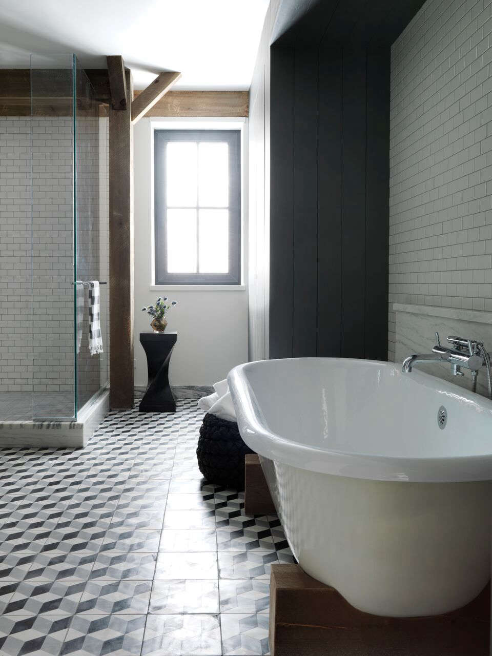 Master Bath With Block Patterned Cement Tiles By Barliswedlick At Fox Hall A Pive