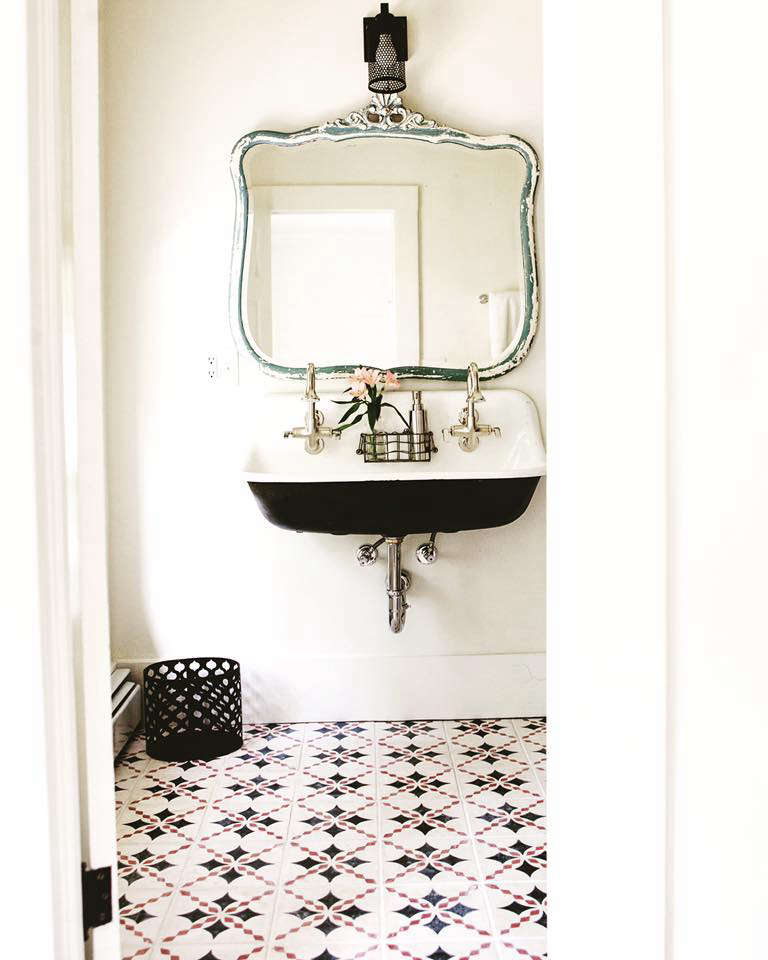 The bathrooms all have tiled Moroccan floors.