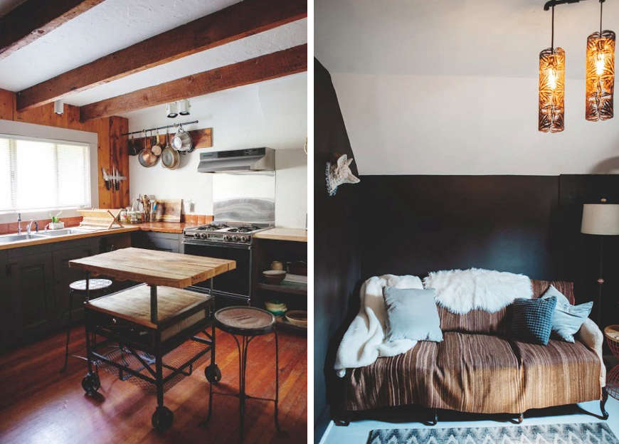 Above L: The Cottageu0027s Rustic Kitchen. Above R: A Vintage Settee Draped In
