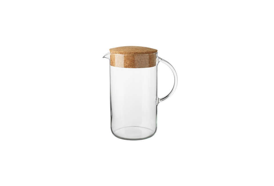 Ikea's 365+ kitchen basics line features some attractive cork options, including coasters, water bottles, and this glass Pitcher with Lid; $7.99.