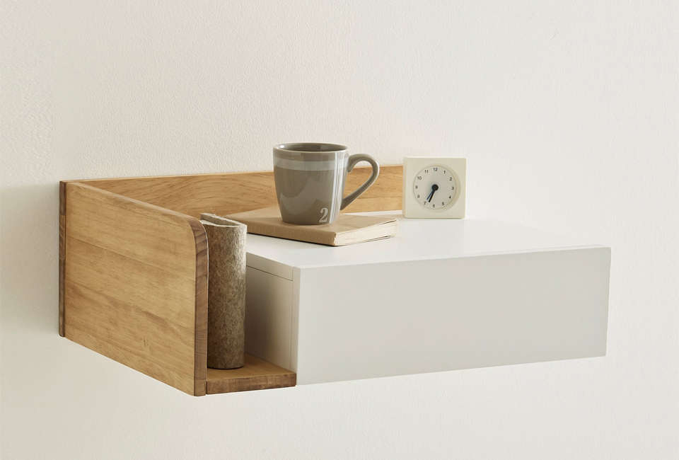 From French Company La Redoute The Suspended Bedside Table Has An Integrated Drawer Tabletop