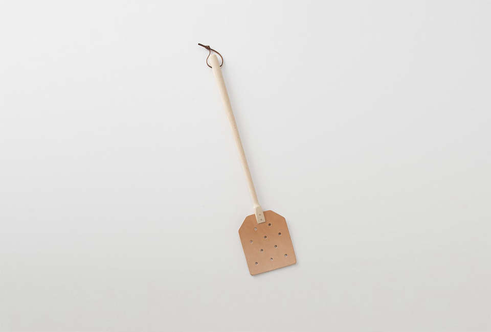 The Leather Fly Swatter is particularly useful in a beachfront summer cottage. This one is $ at Schoolhouse.