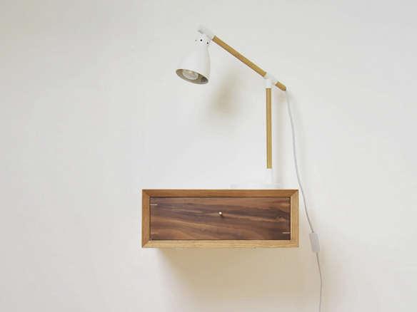 Midcentury Style style floating oak nightstand
