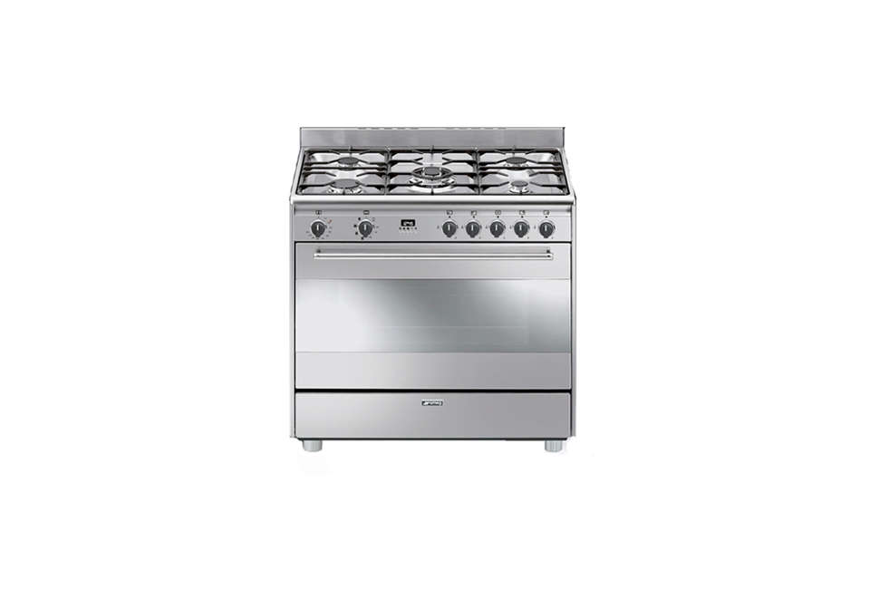 The Smeg 36-Inch Freestanding Dual Fuel Range with five sealed burners and a 4.4 cubic foot convection oven is $