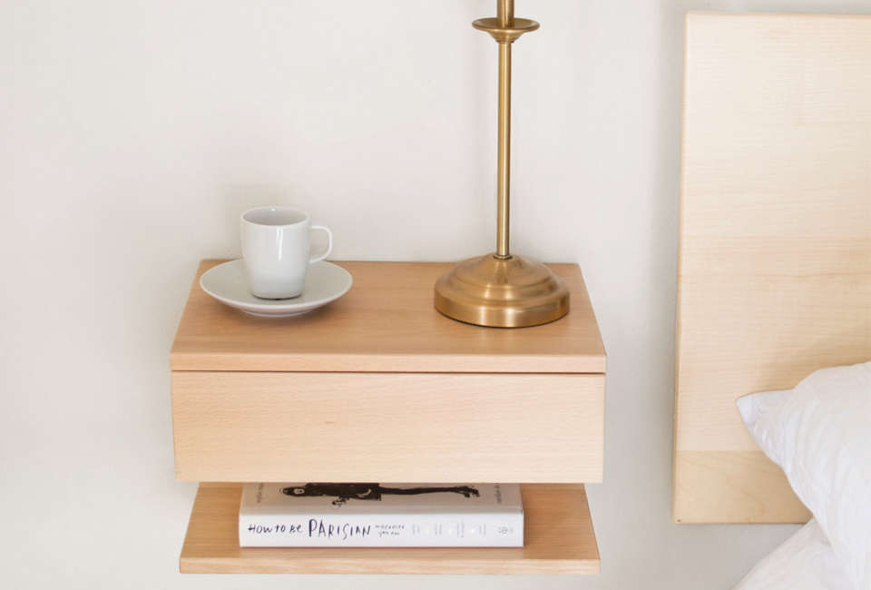 From Urbansize In London The Floating Bedside Table Beech Has A Single Drawer And
