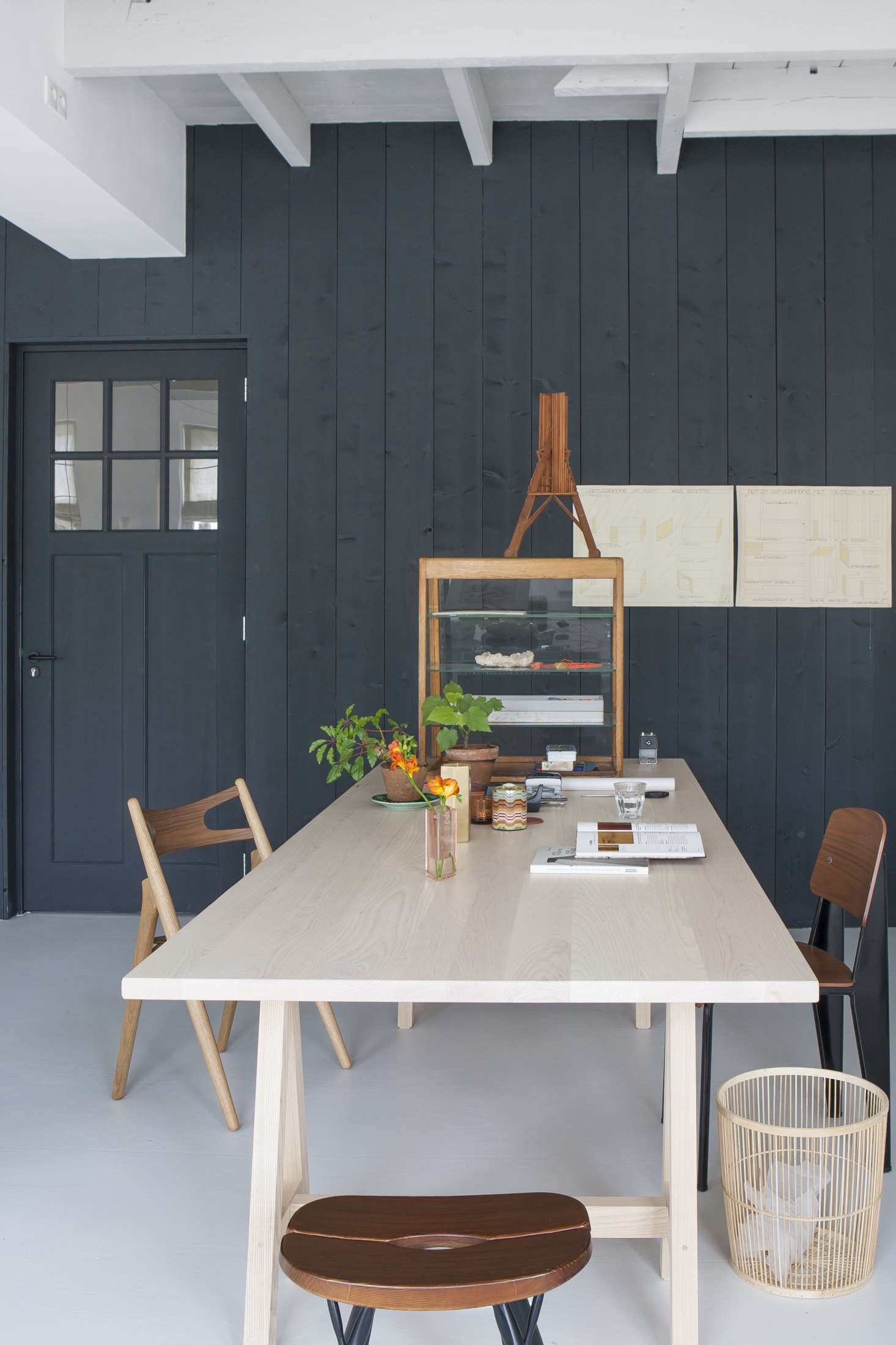 Dining/work table by Dutch interior designer Christen Starkenburg of Interieur-Plus at Jan de Jong, her family's design shop in Friesland, the Netherlands | Remodelista