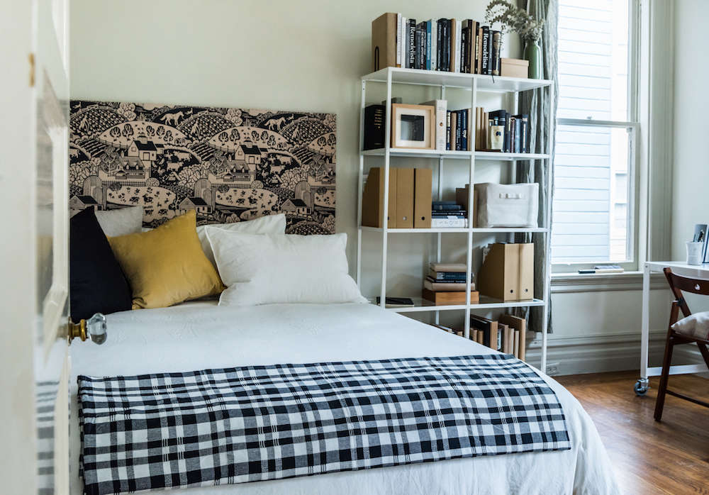 A Diy Headboard With New Wallpaper From Farrow Ball Remodelista
