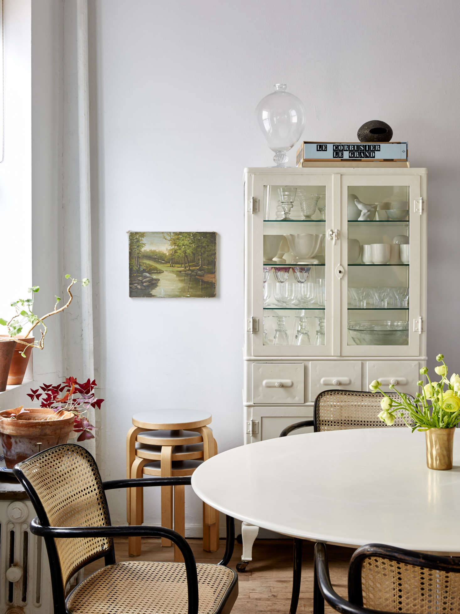 Small-space solutions: a vintage medical cabinet used as a display case