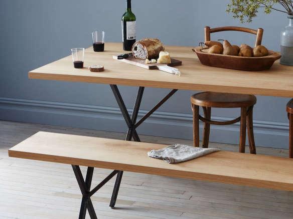 Solid White Oak U0026 Rusted Steel Farm Table U0026 Bench