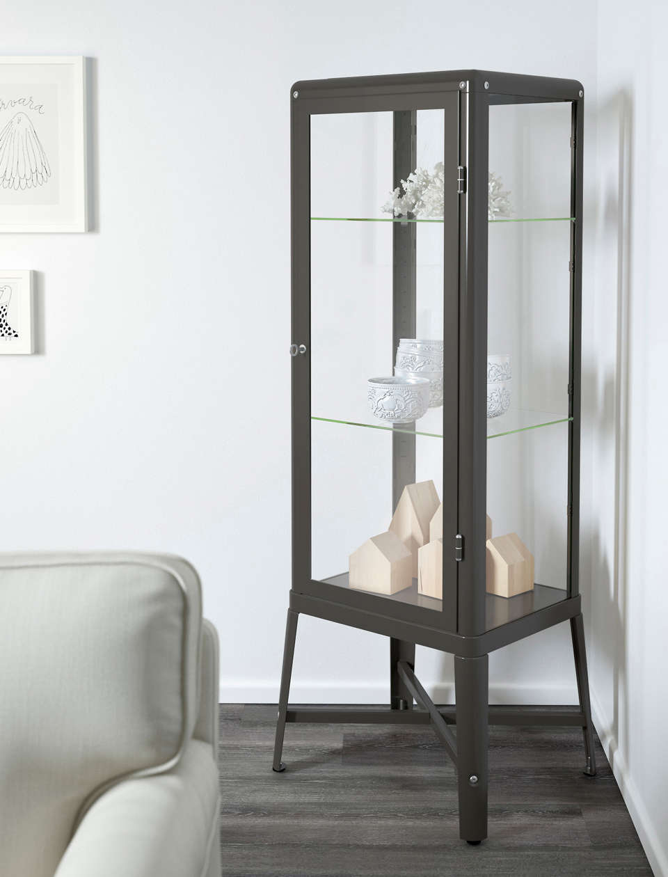 Fabrikr Glass Door Cabinet Dark Grey