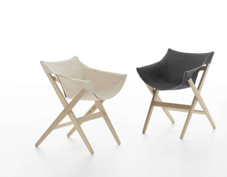 Jasper Morrison was inspired by a folding camping chair he bought in Japan when he designed his Fionda chair for Mattiazzi; €488 ($544) from Milia Shop. It's available with a red, natural, or black canvas cover. (And for more ideas, see 5 Favorites: The New Canvas and Wood Folding Chair, High to Low.)