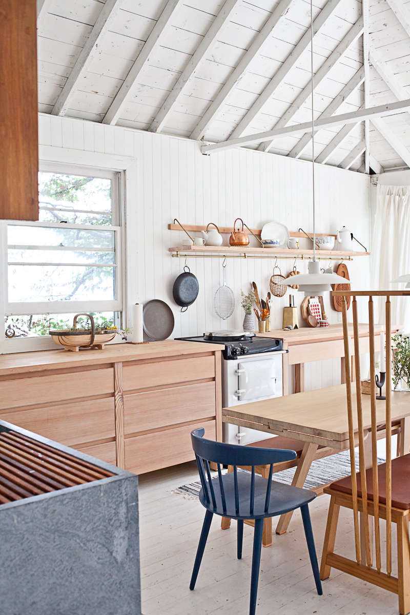 nordic style kitchen small studio junction designed the cabinets and countertops with carolina pine finished in lye wash steal this look scandistyle kitchen canadian cabin