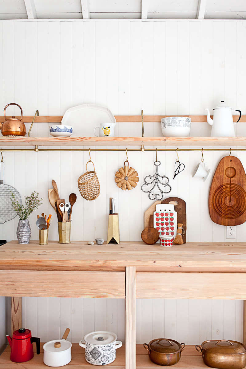 nordic style kitchen scandinavian like juli and johns toronto kitchen their key kitchen tools hang from long rail steal this look scandistyle kitchen in canadian cabin