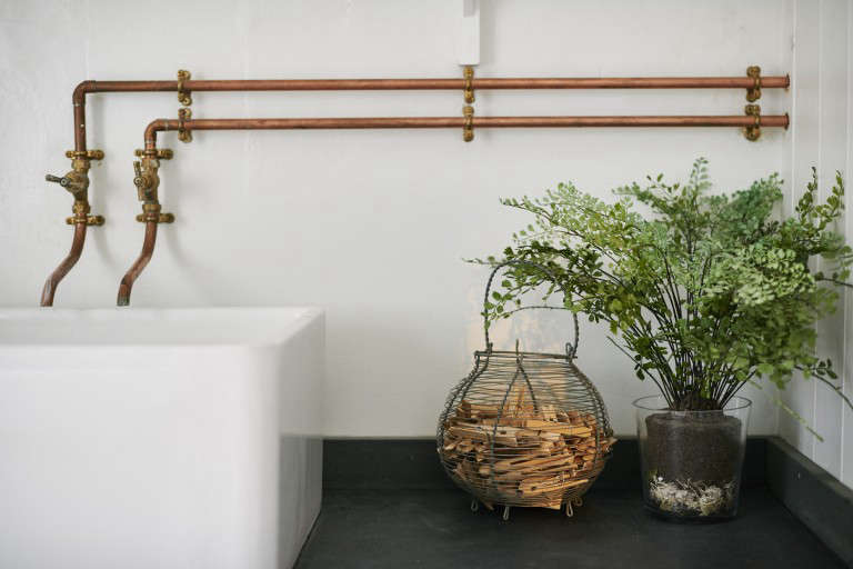 Copper Industrial Faucets In Niki Turner Bath