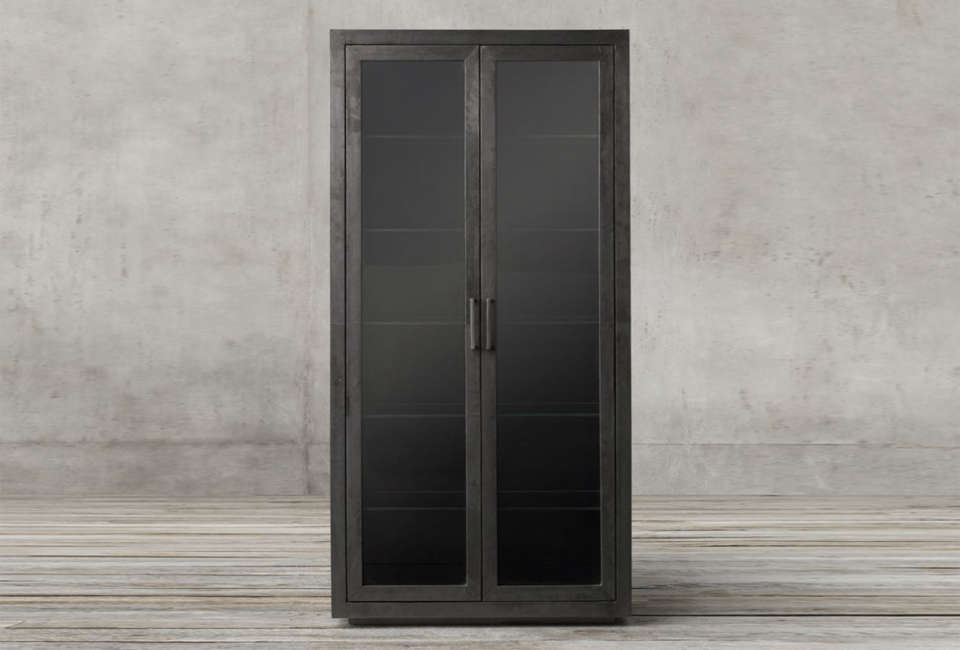 Restoration Hardware Metal Glass Cabinet