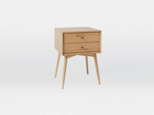 Mid Century Nightstand Natural Oak