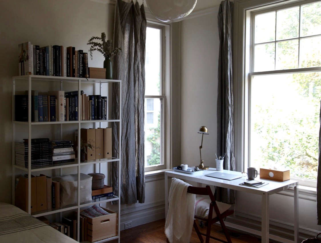 office drapes. An Apartment Office With Ikea Bookshelf And DIY Linen Curtains Drapes P