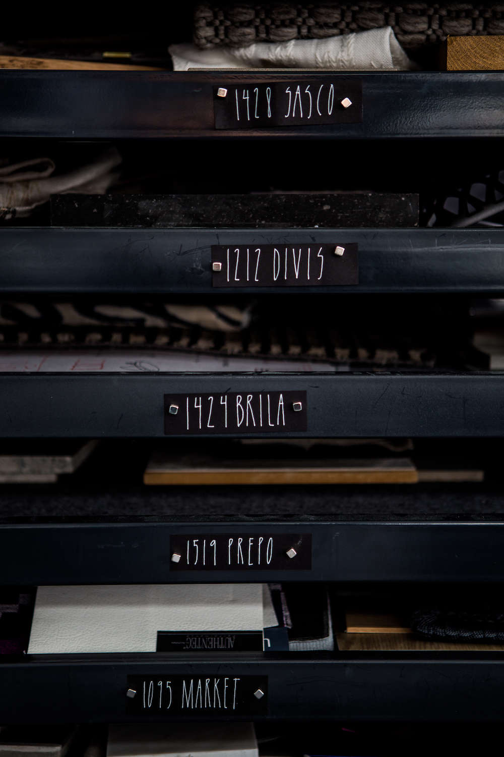 Interior Design Office Materials Library in Steel Drawers