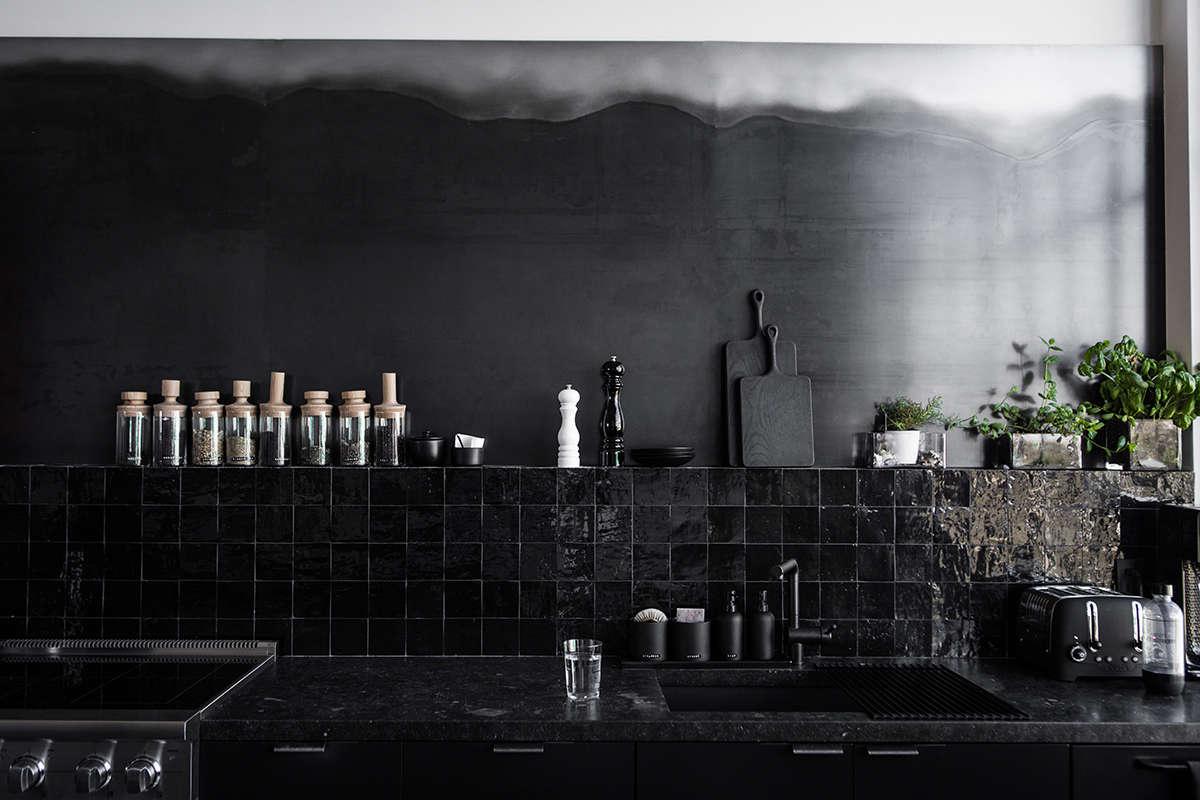 All Black Tiled Kitchen in San Francisco