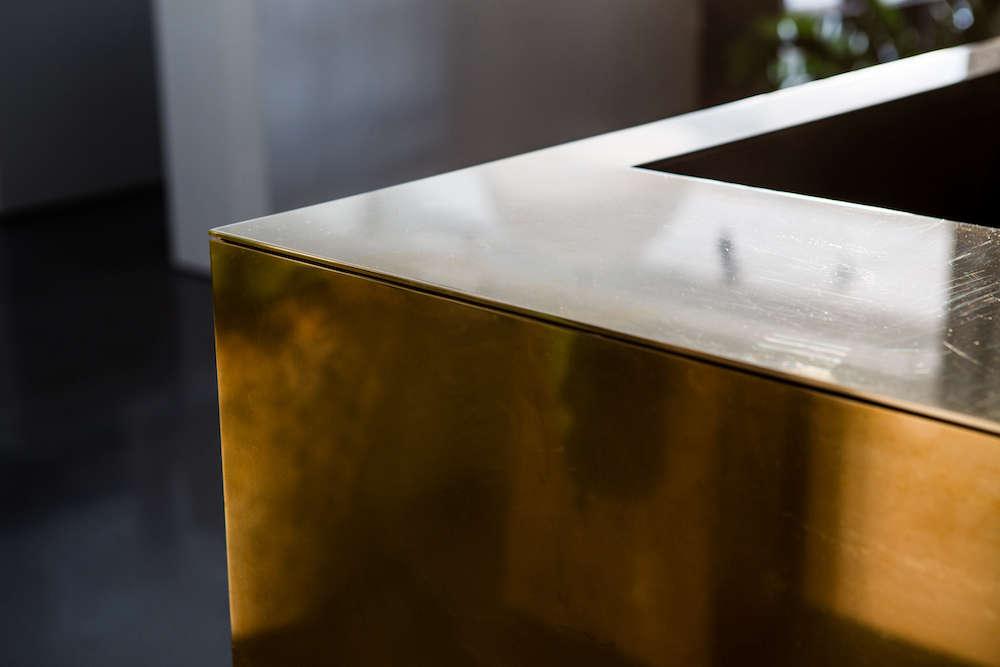 Brass Desk Surround with Corner Detail