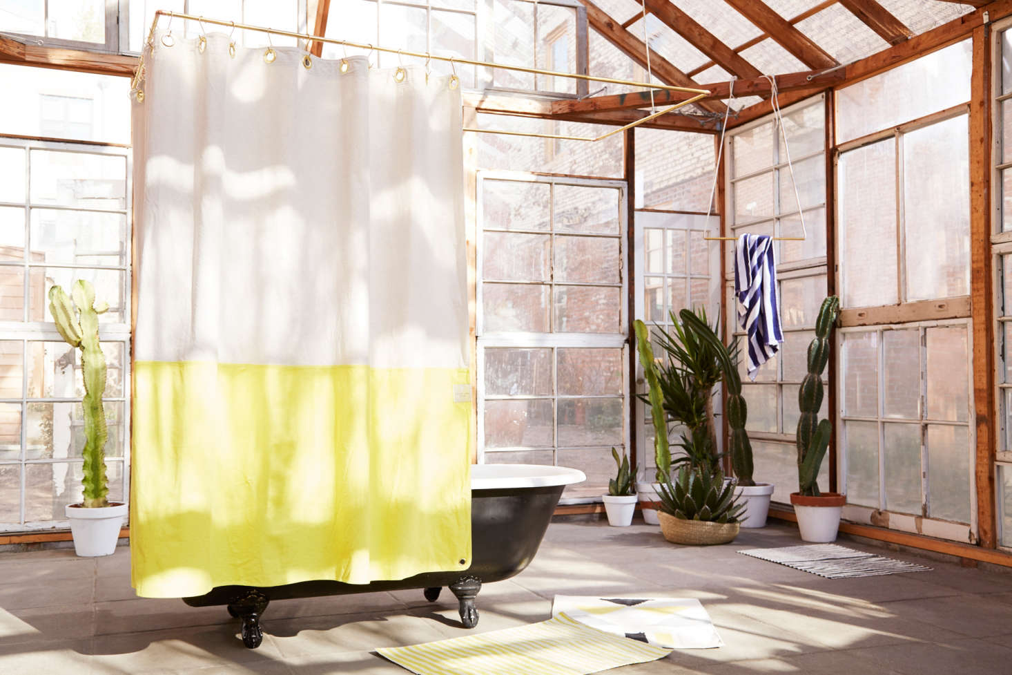 Marvelous Color Blocked Canvas Shower Curtain From Quiet Town   Remodelista