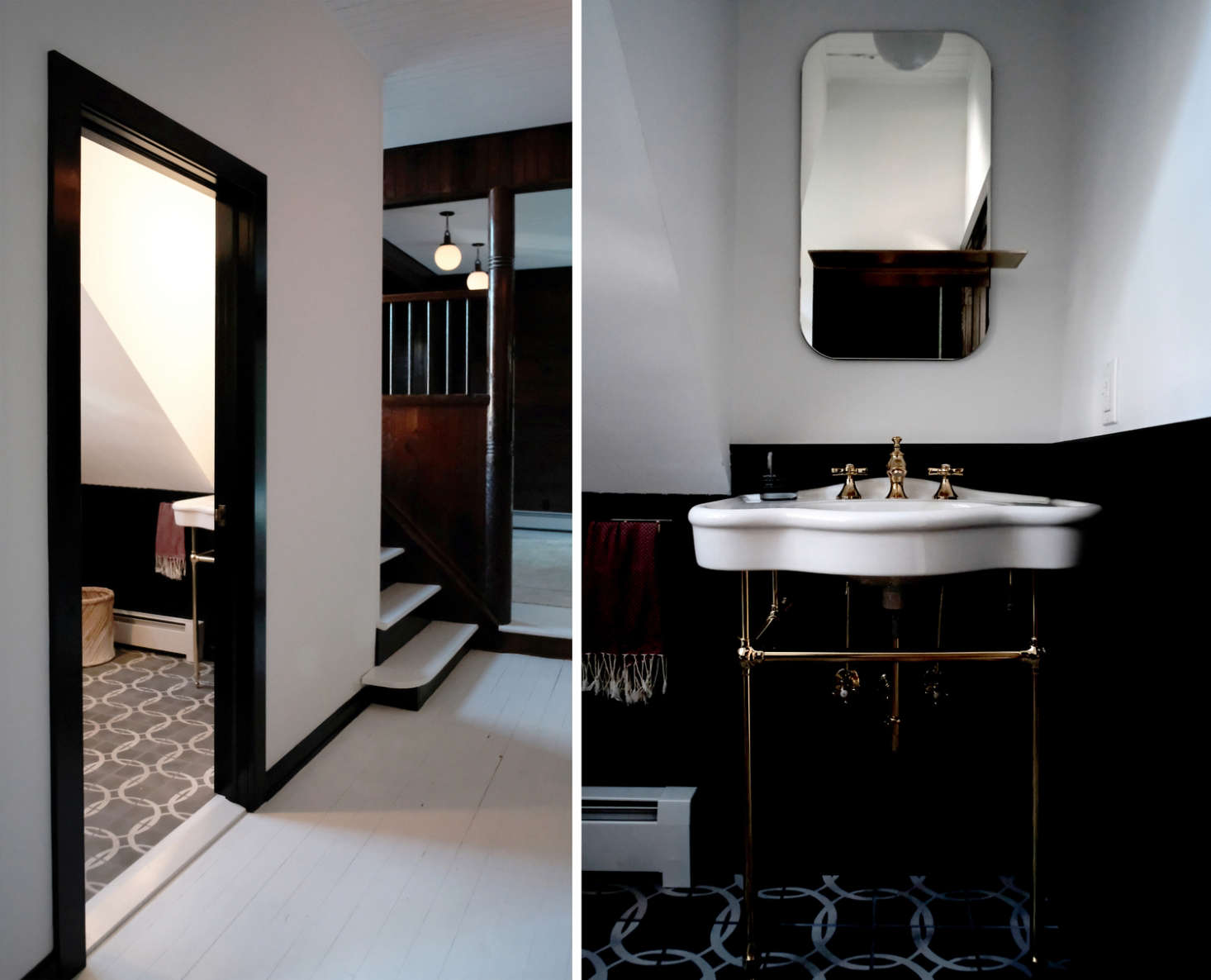 Architects Space Exploration overhauled this petite black-and-white bath inside a former carriage house inTuxedo Park, New York. See the rest in Before and After: A Tuxedo Park Carriage House Gets an Update in Black and White. Photography by and courtesy of Kevin Greenberg.