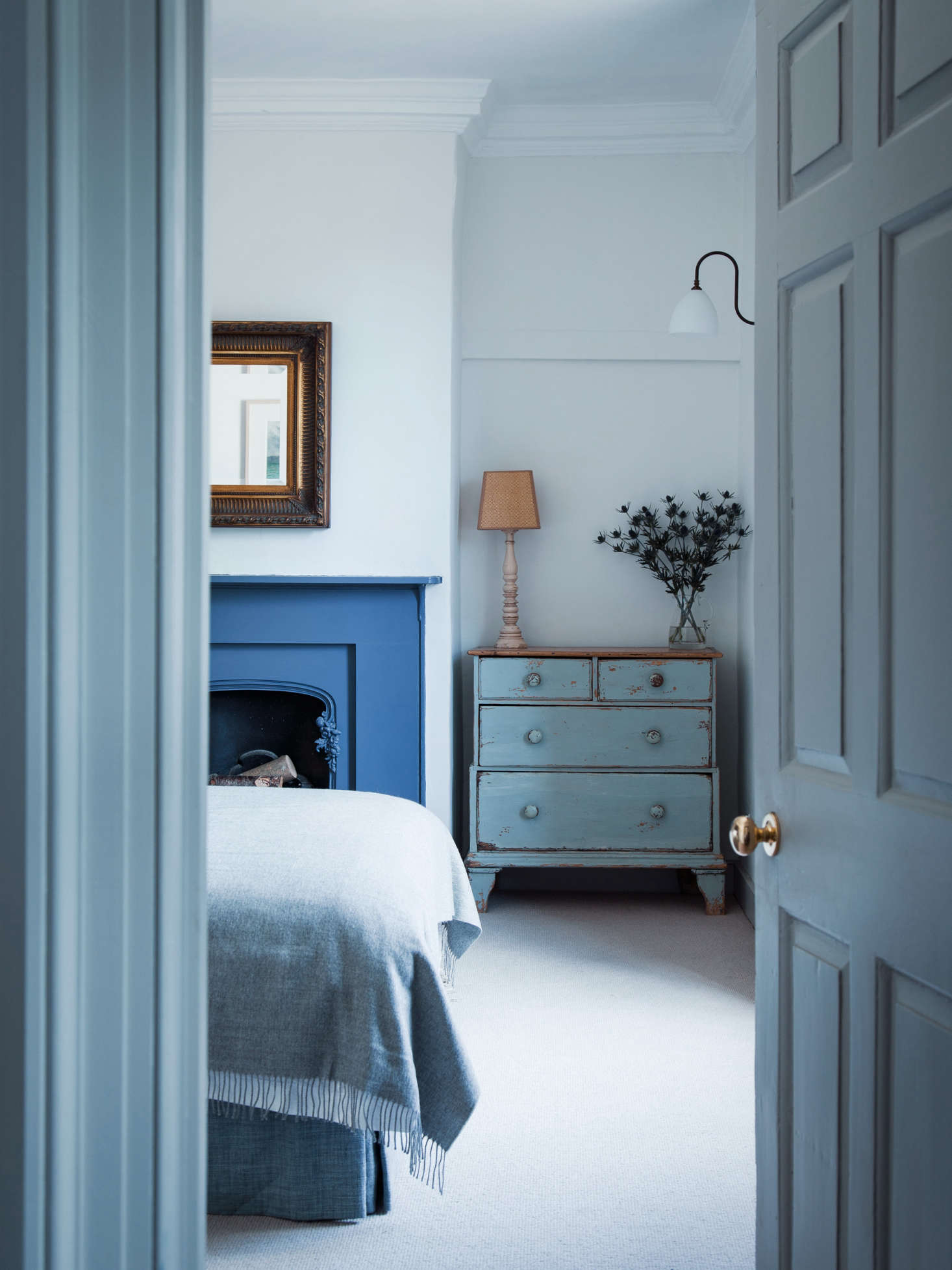 A flawless application of several shades of blue makes for a restful bedroom in this Dorset House by Mark Lewis. See: Blue Period: An English Manor House Channels Picasso. Photo by Rory Gardiner.