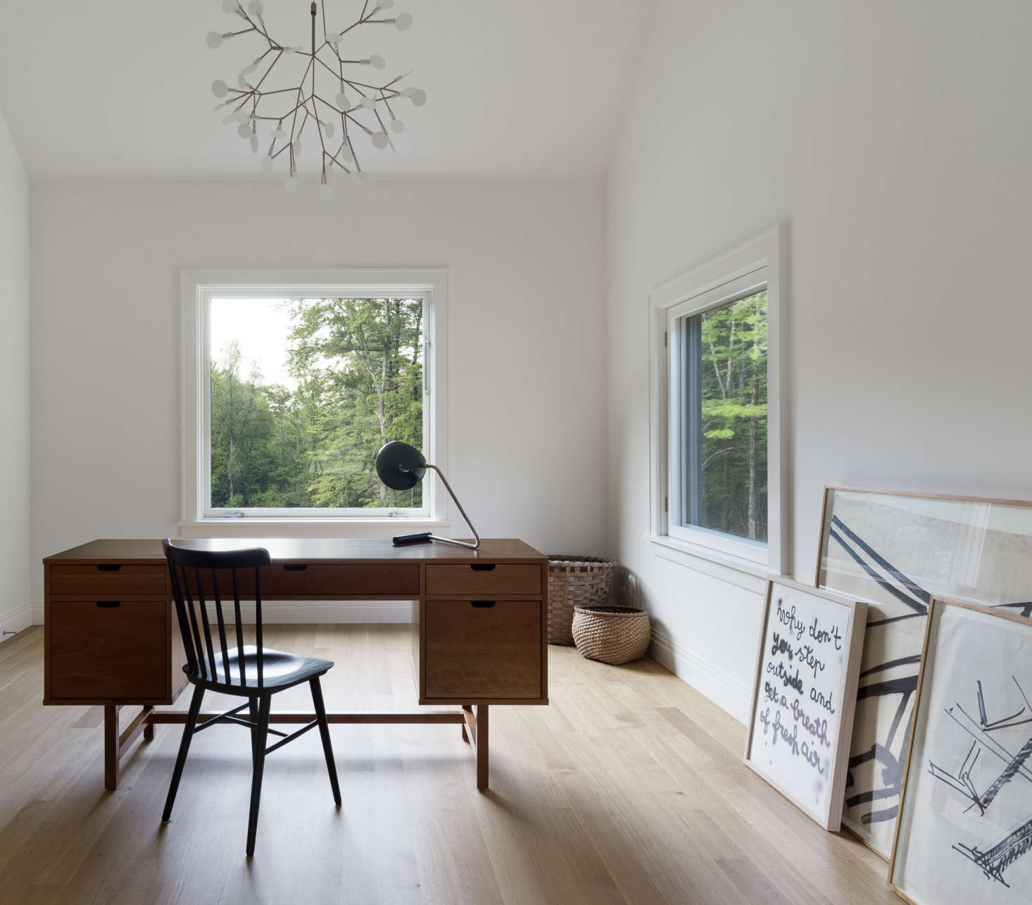 Home office with Moooi snowflake-like light at Undermountain, a barn-style house in the Berkshires by O'Neill Rose Architects