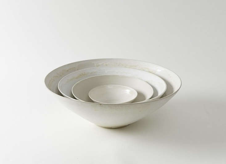 Handmade in Italy, the Christiane Perrochon White Beige Stoneware Bowls are currently available in three sizes (medium, large, and extra-large, which measures  inches across) from March in San Francisco; from $