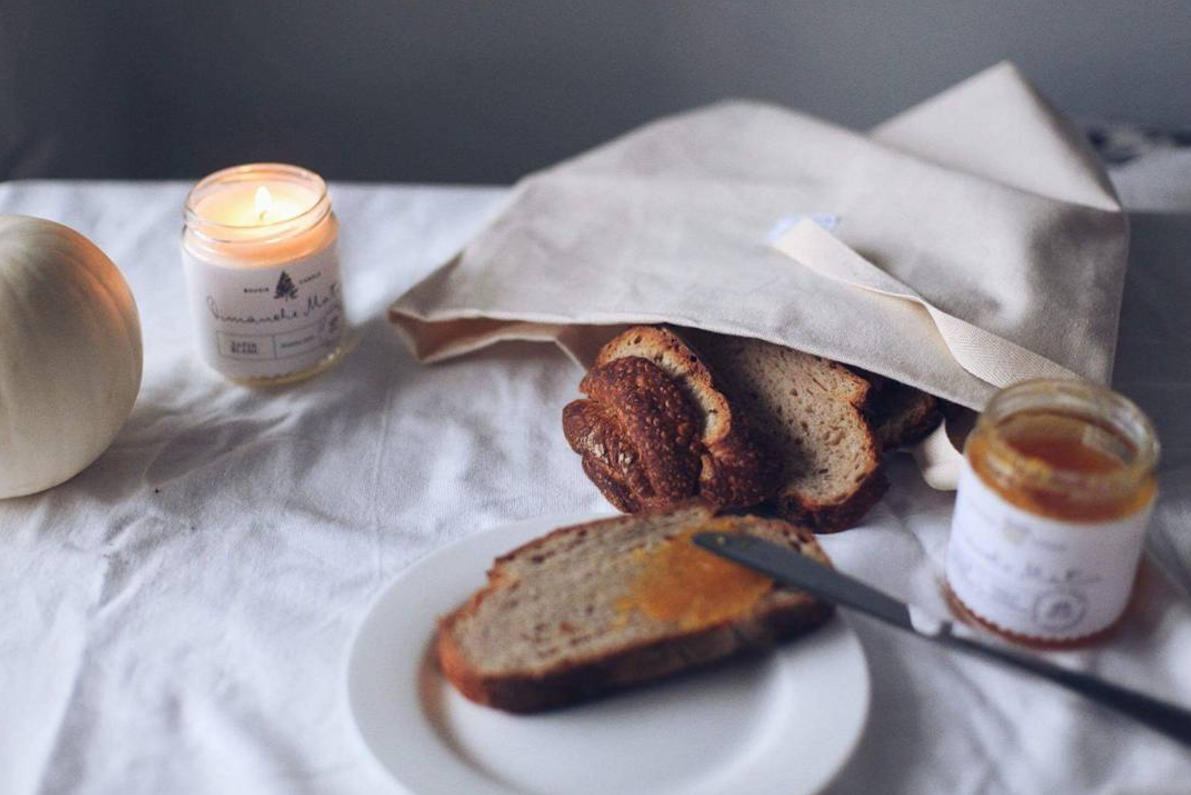 An all-natural cotton Bread Bag transports bread from the market and keepsloaves fresh for three to four days; handmade byQuebec-based company Dans Le Sac,a boule-size bag is$ CAD. For more, see Dans Le Sac: Simple Cotton Bread Bags from Quebec.