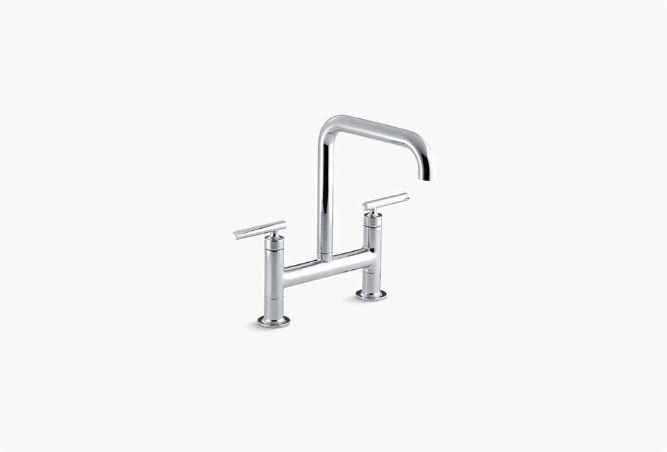 Kohler Purist Two Hole Deck-Mount Bridge Kitchen Sink Faucet