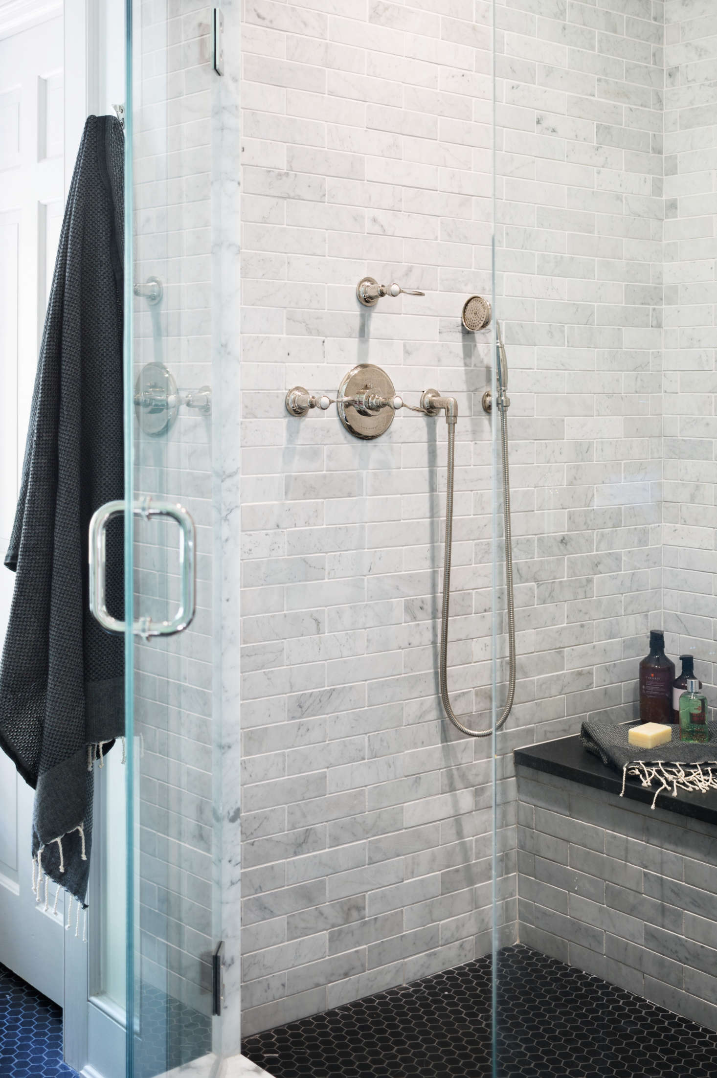 Marble Tile Shower In Modern Farmhouse Renovation Black