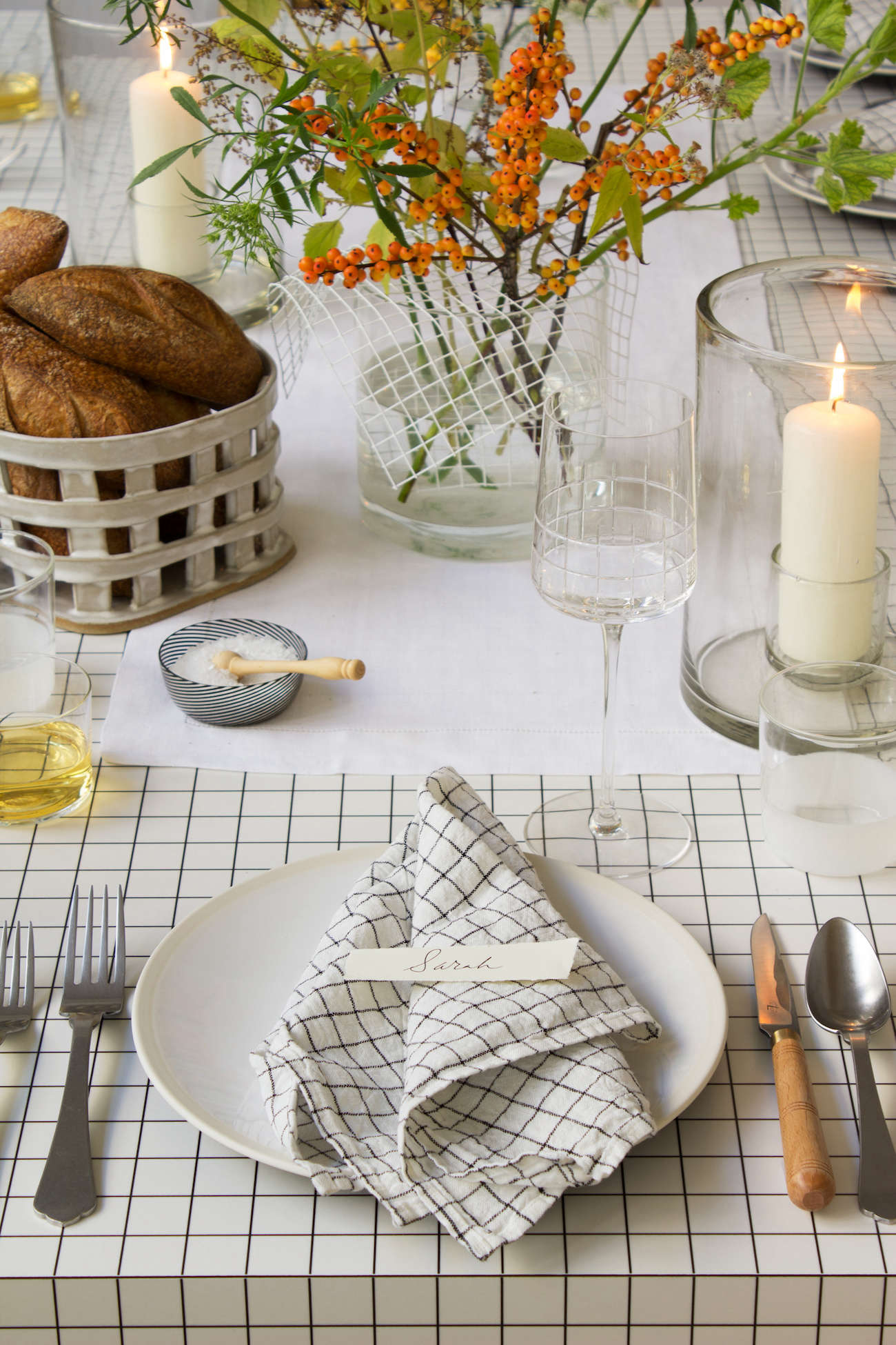 modern-thanksgiving-table-setting-grids-orange-flowers-black-  sc 1 st  Remodelista & DIY: An Architect-Inspired Thanksgiving Table from Designer David ...