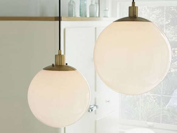 Globe Pendant Antique Br Milk Finish