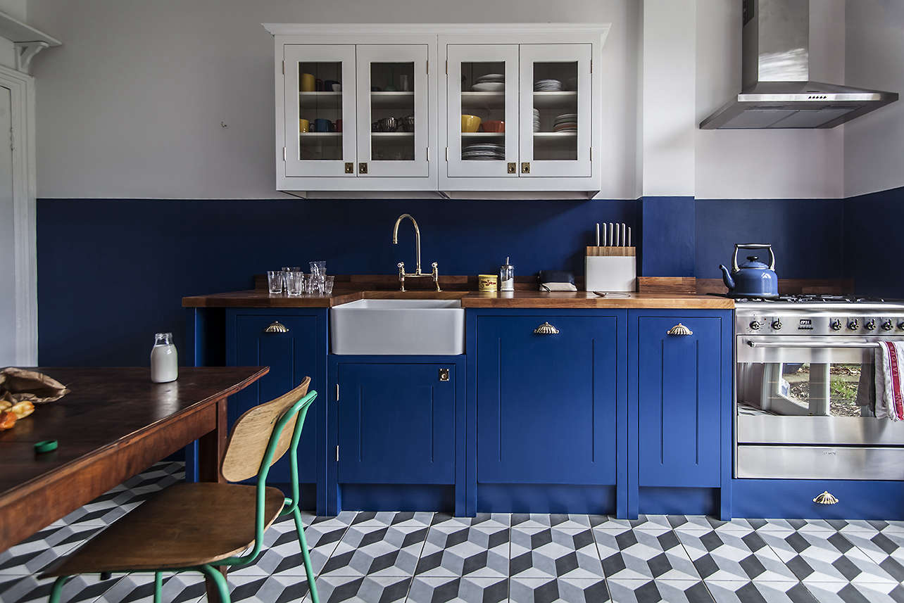 Merveilleux British Standard Bright Blue Kitchen, A Budget Conscious Remodel In London
