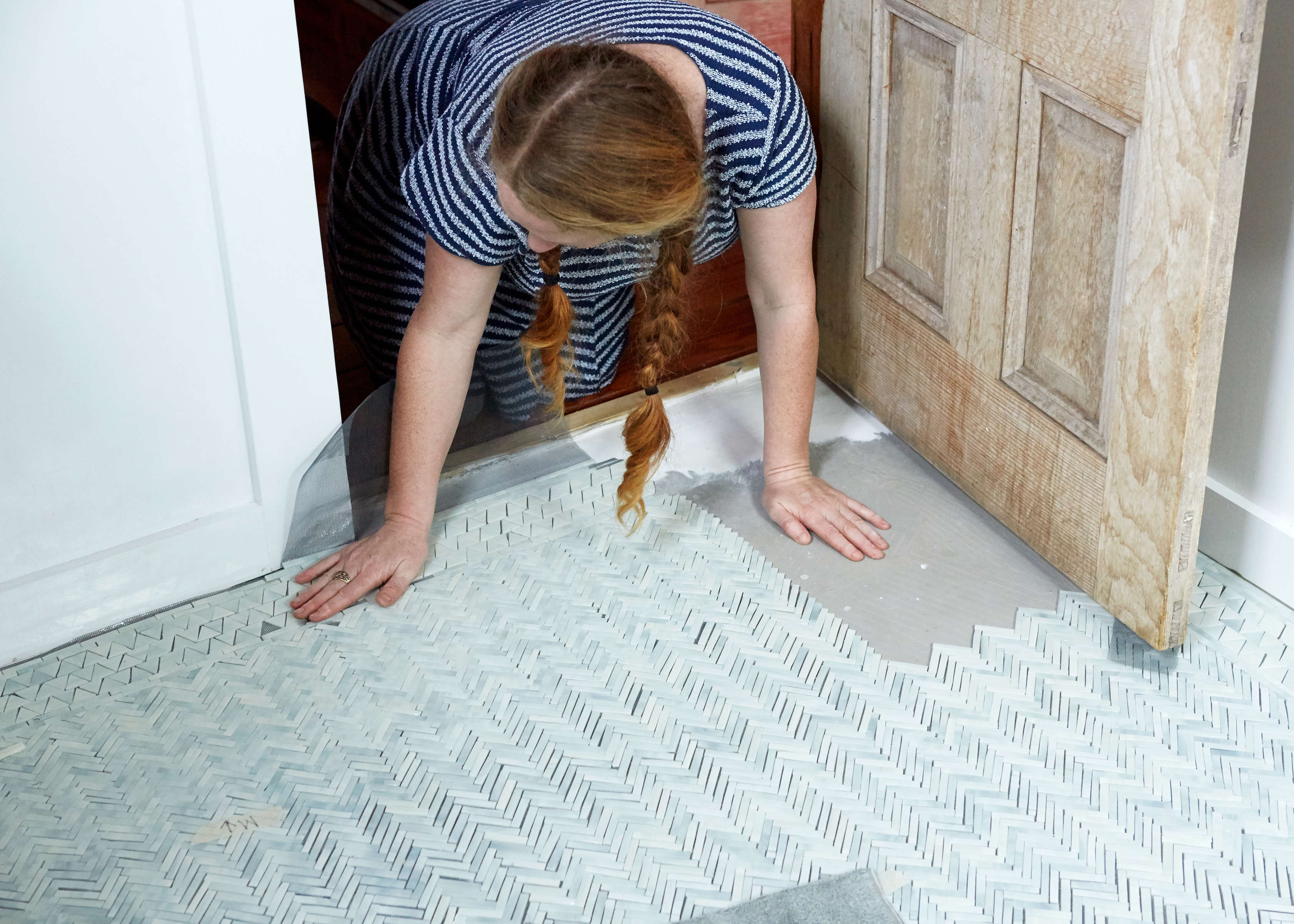 Bathroom of the Week: An Artist-Made Mosaic Tile Floor, Start to ...