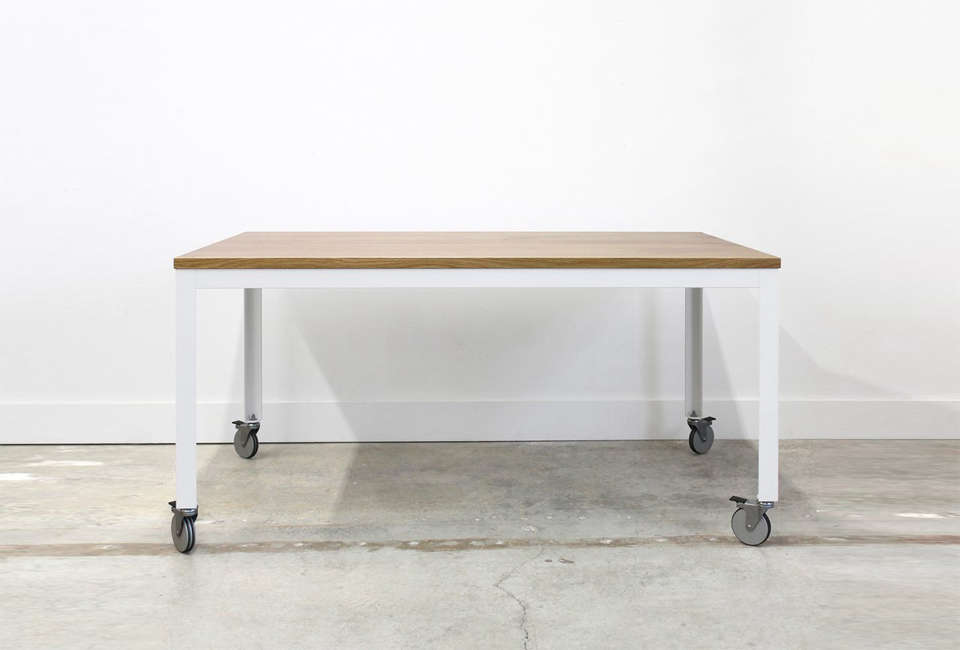 table on wheels. the farmhouse modern table from chadhaus furniture is $2,700 (shown in oak whitewash and white on wheels d