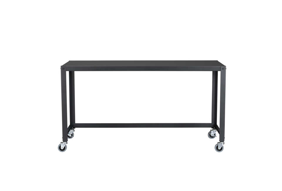 CB2u0027s Go Cart Carbon Rolling Console Table, Designed As A Desk Or Dining  Perch