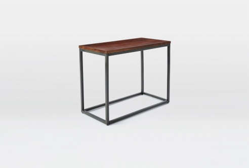 Box Frame Narrow Side Table   Wood/Antique Bronze