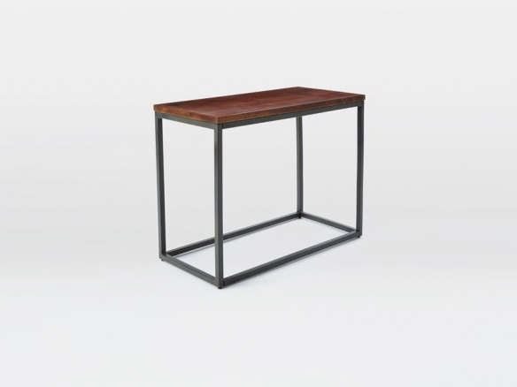 Box Frame Narrow Side Table Wood Antique Bronze