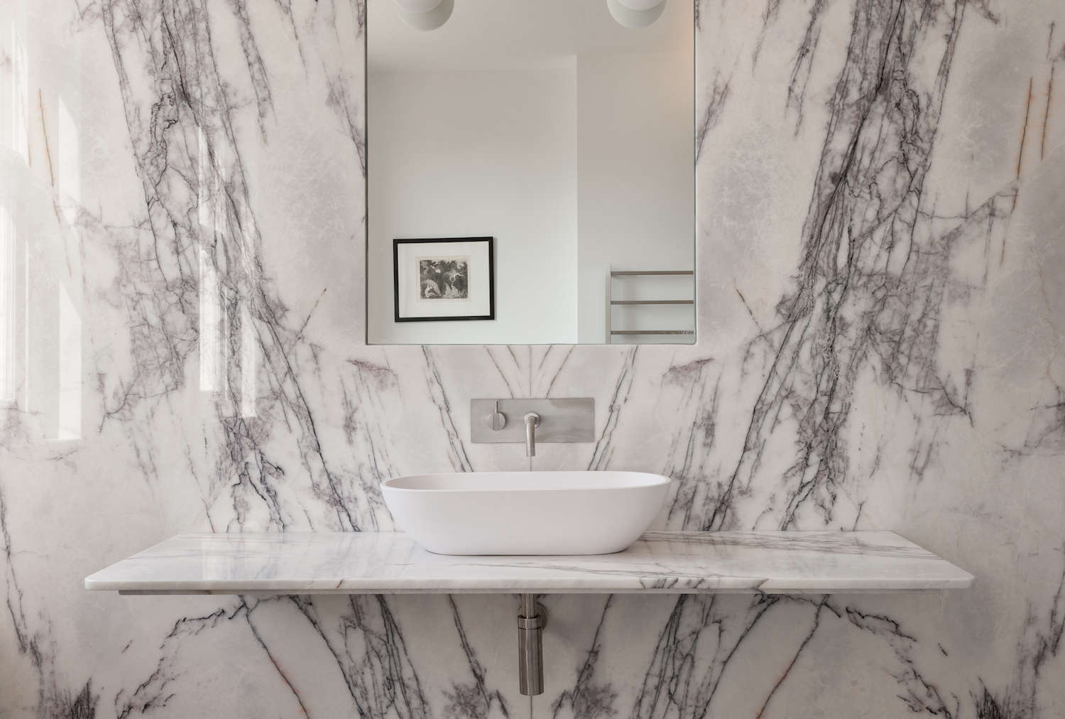 Charming White Marble Slab Bathroom In UK