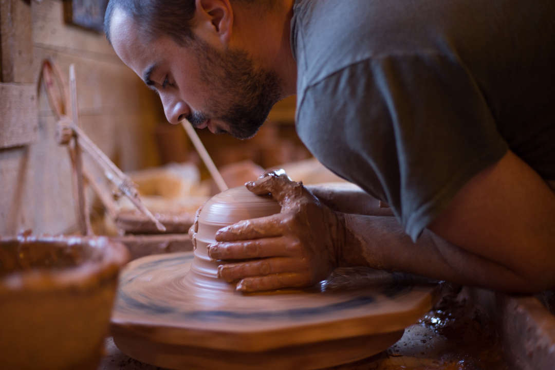 Alex Matisse at Wheel, East Fork Pottery