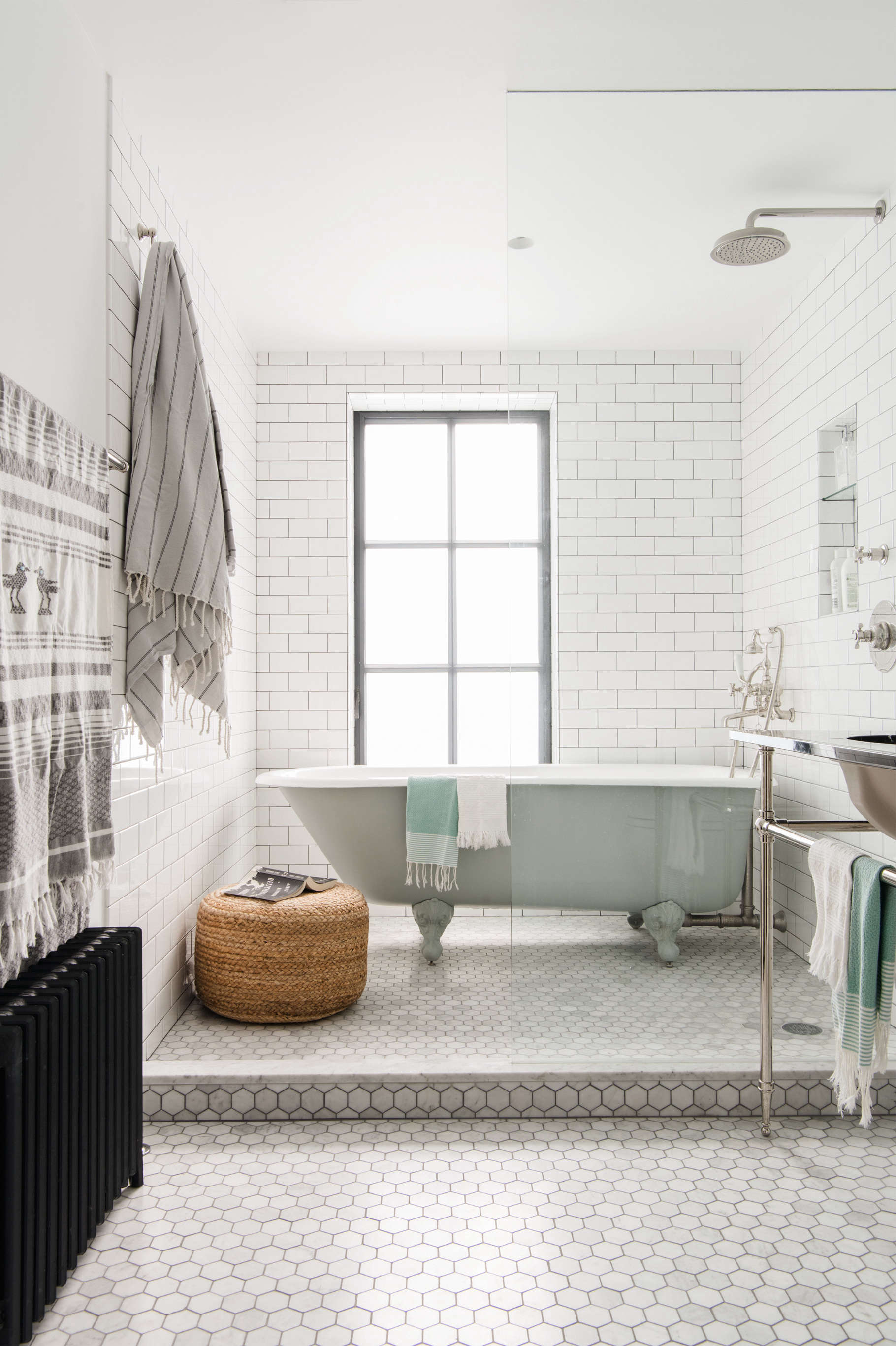 Bathroom White Subway Hex Tile Brooklyn Remodel Elizabeth