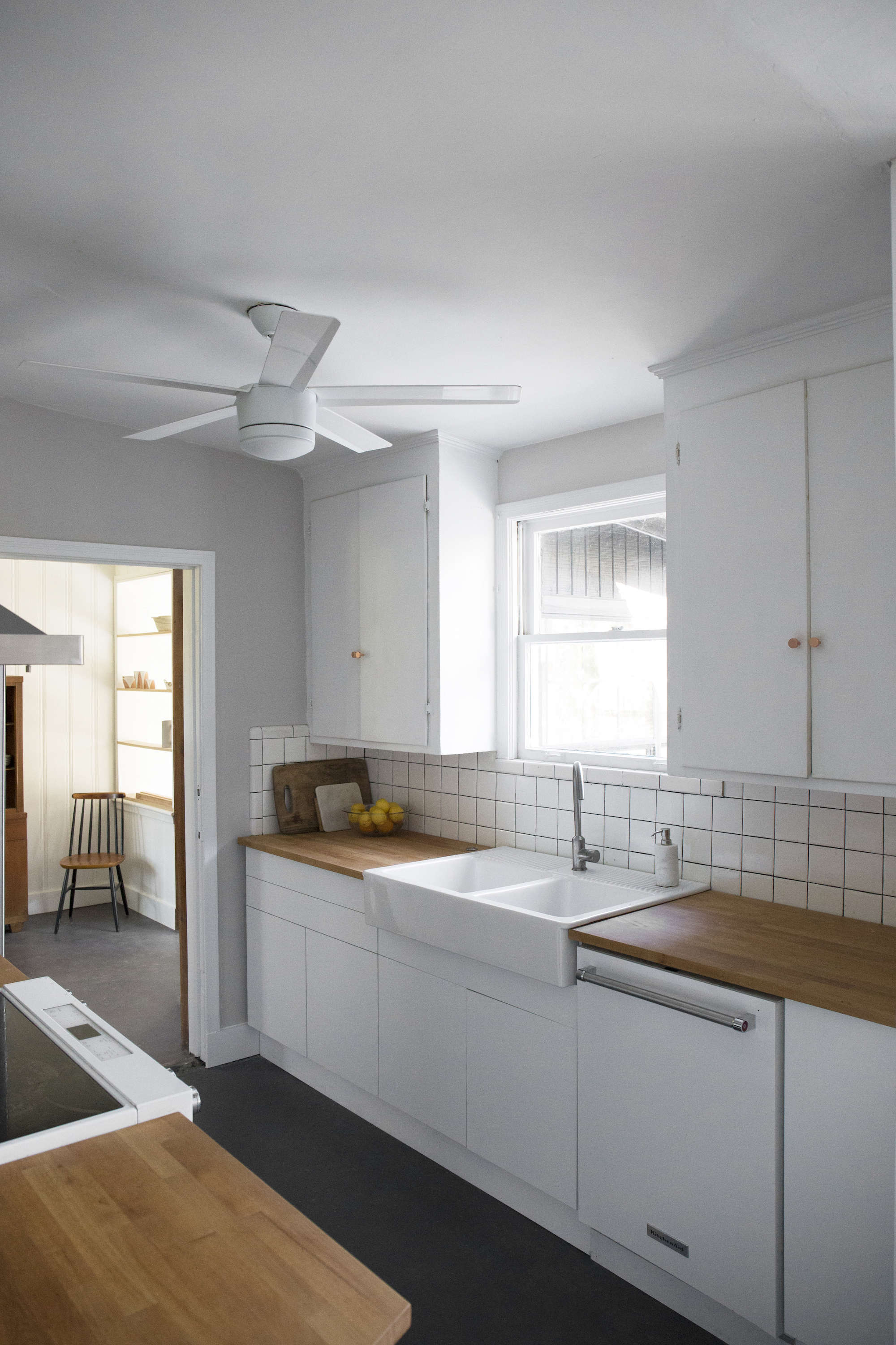 Budget Kitchen Remodel White Flat Front Cabinets