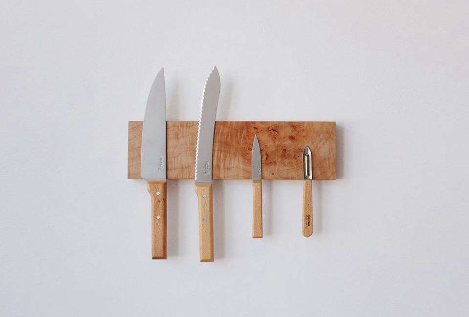 The Hold General Store Knife Rack is made of Vancouver Island maple by Dreamerweavers collective in Victoria, B.C.. The small size holds four knives and is $83 CAD ($64 USD) and the large size holds five knives for $96 CAD ($73 USD).