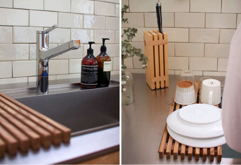 Kitchen Sink Subway Tile Knife Block Wood Dish