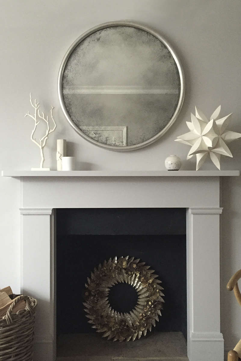 Reid And Wright Mirror Ridge French Grey Gesso Finish Antiqued Glass